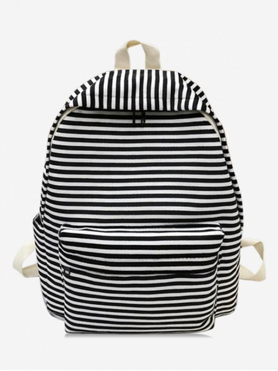 hot Stylish Striped Decoration Backpack - BLACK