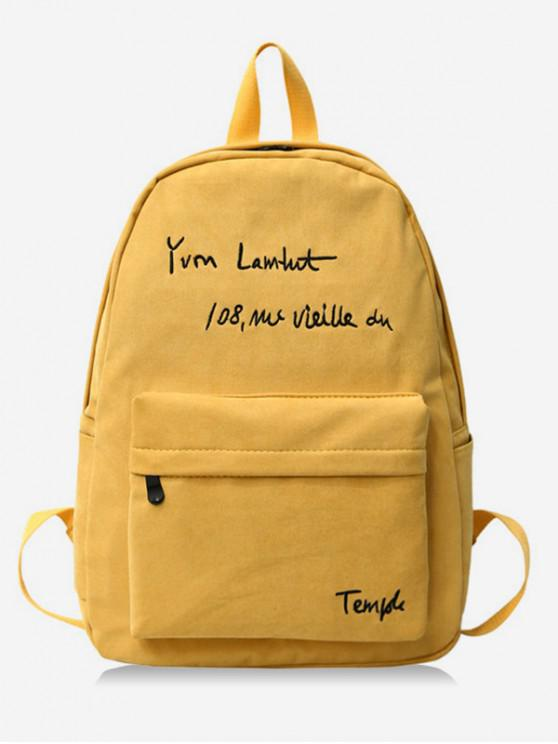 chic Letter Embroidery Cotton Backpack - SUN YELLOW