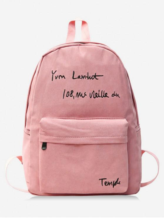 unique Letter Embroidery Cotton Backpack - LIGHT PINK