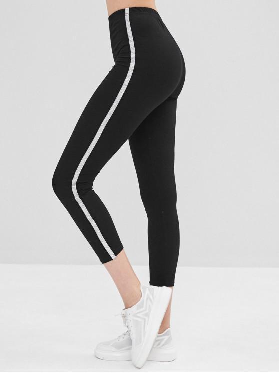 shop Elastic Skinny Glitter Trim Leggings - BLACK L