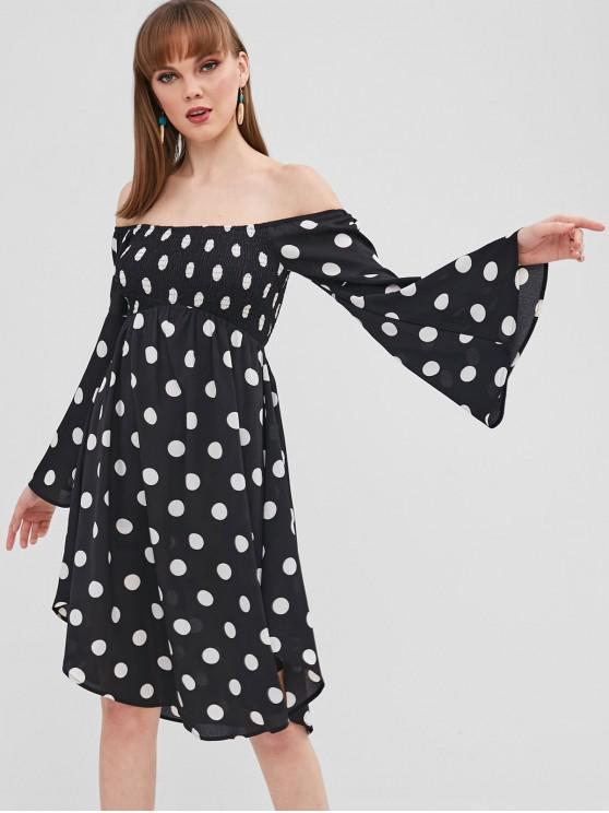 buy ZAFUL Polka Dot Flare Sleeve Off Shoulder Dress - BLACK M