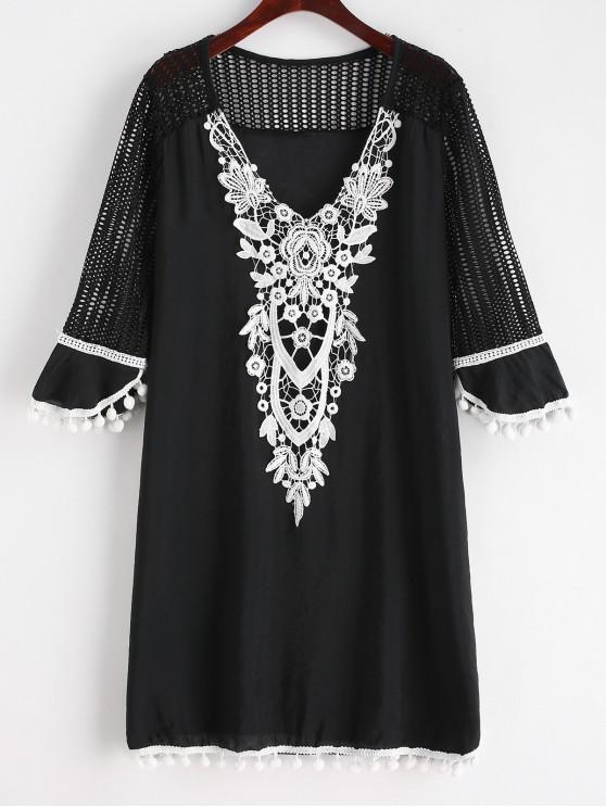 fashion Pom Pom Crochet V Neck Cover Up - BLACK S