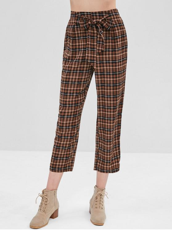 womens ZAFUL Plaid Tied Front Pants - BROWN BEAR M
