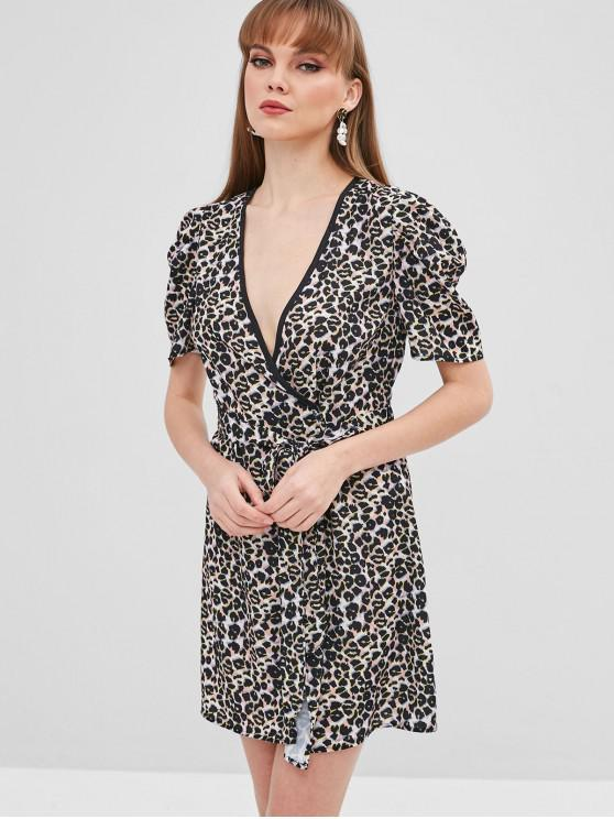 women's Leopard Mini Wrap Dress - LEOPARD M