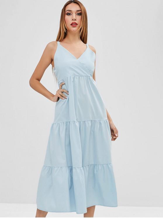 women Tiered A Line Midi Dress - LIGHT BLUE M