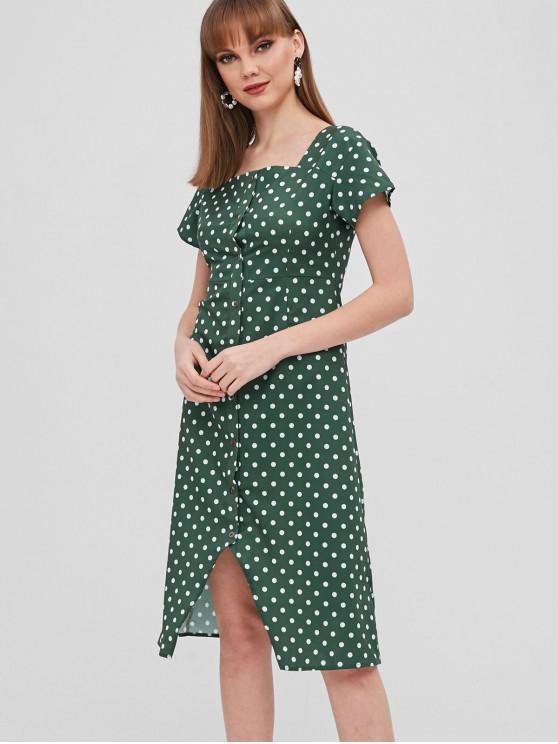 Polka Dot Button Up vestido assimétrico - Verde S