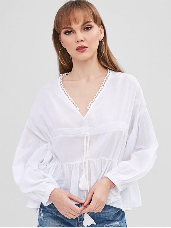 buy V Neck High Low Peplum Blouse - WHITE S