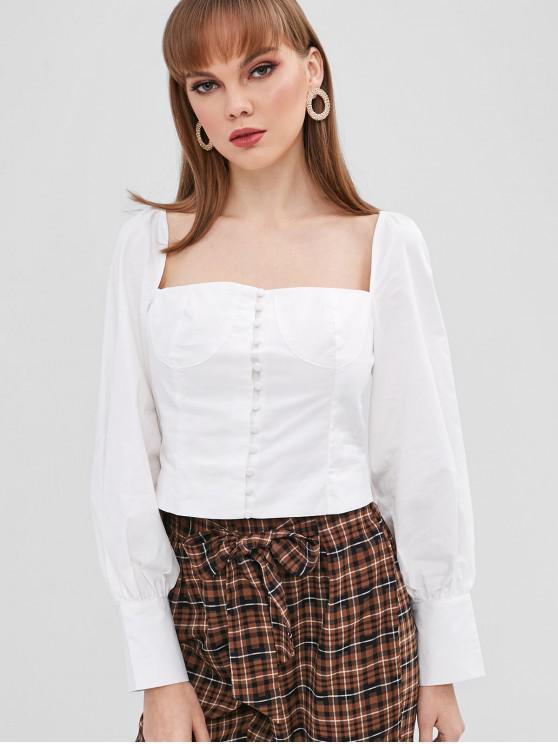 fancy Button Up Square Neck Crop Blouse - WHITE L
