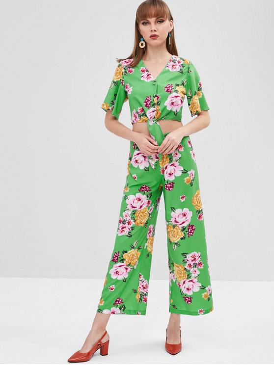 Conjunto de calças de perna larga floral - Verde M