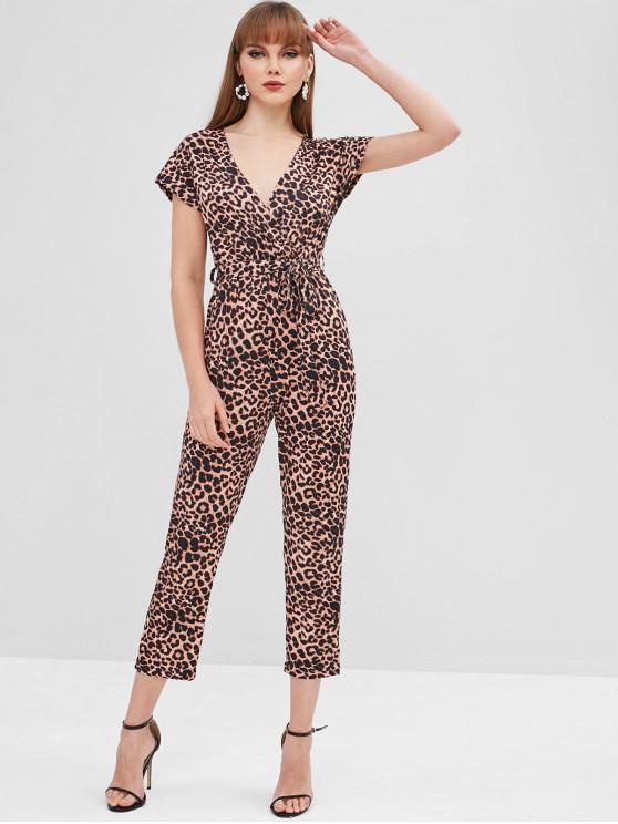 sale Leopard Belted Surplice Jumpsuit - LEOPARD M