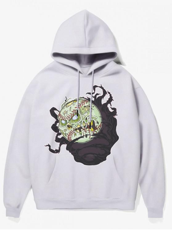 shop Cartoon Evil Baseball Print Fleece Hoodie - WHITE S