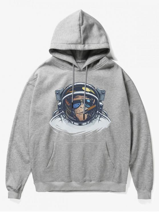 fancy Cartoon Monkey Astronaut Print Fleece Hoodie - GRAY XS