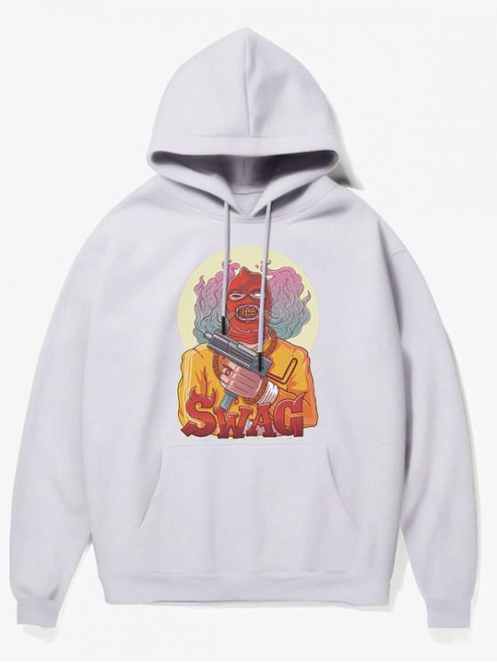 womens Cartoon Bad Guy Print Fleece Hoodie - WHITE XS