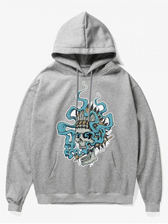 latest Smoking Skull Print Fleece Hoodie - GRAY S