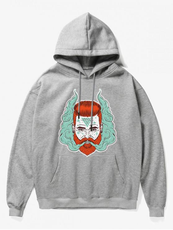 chic Man Head With Smoke Print Fleece Hoodie - GRAY XS