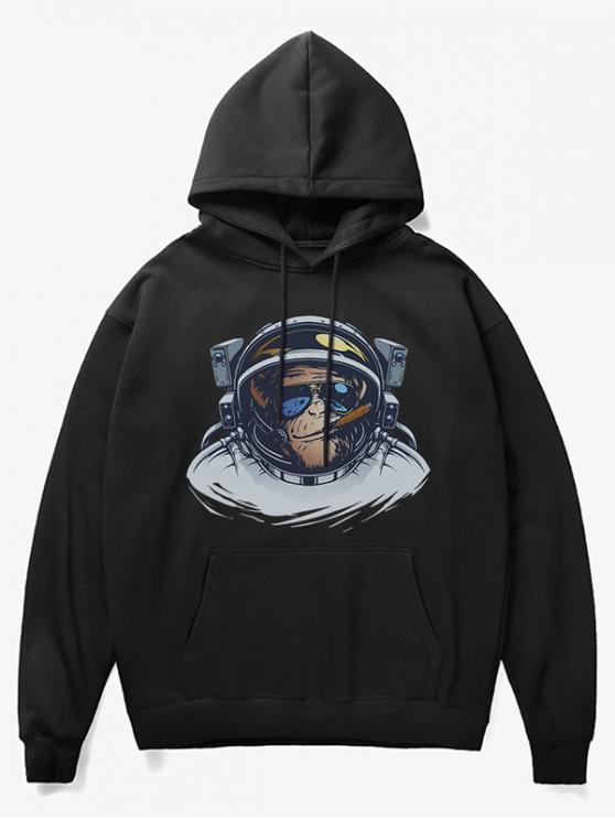 unique Cartoon Monkey Astronaut Print Fleece Hoodie - BLACK XS