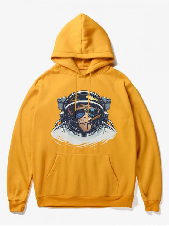 Cartoon-Affe-Astronauten-Druck-Fleece-Hoodie - Gelb S