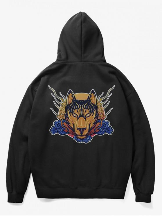 women's Wolf Head Print Fleece Hoodie - BLACK M