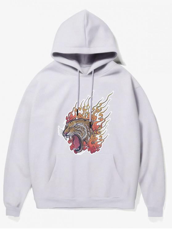 best Roar Tiger Head Print Fleece Hoodie - WHITE S