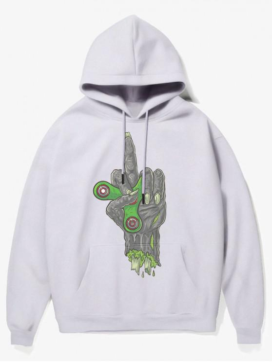 hot Fingertip Gyro Hand Print Fleece Hoodie - WHITE XS