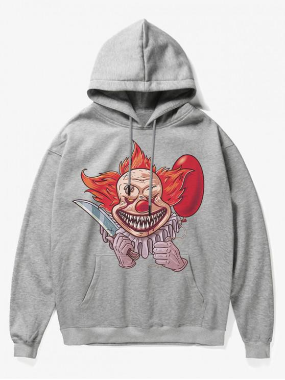 outfits Clown Print Fleece Hoodie - GRAY S