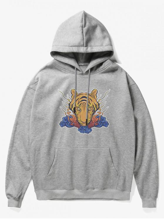 shop Tiger Head Print Fleece Hoodie - GRAY S