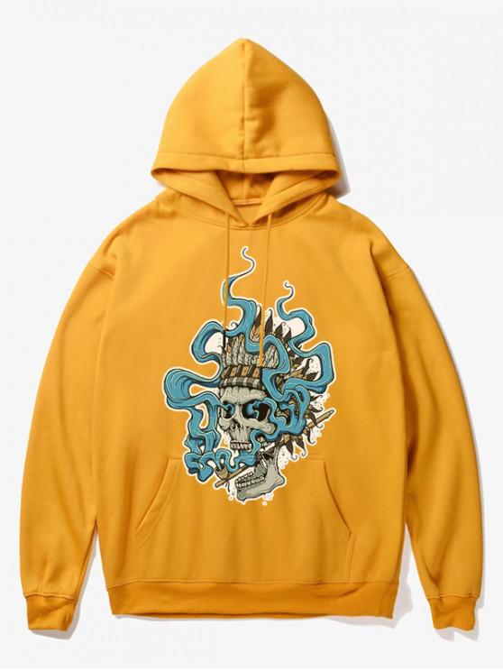 fashion Smoking Skull Print Fleece Hoodie - YELLOW M