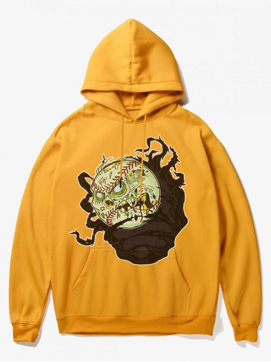 unique Cartoon Evil Baseball Print Fleece Hoodie - YELLOW S