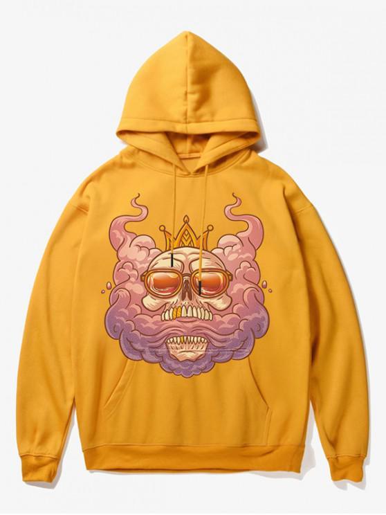 women's Cartoon Skull King Print Fleece Hoodie - YELLOW S