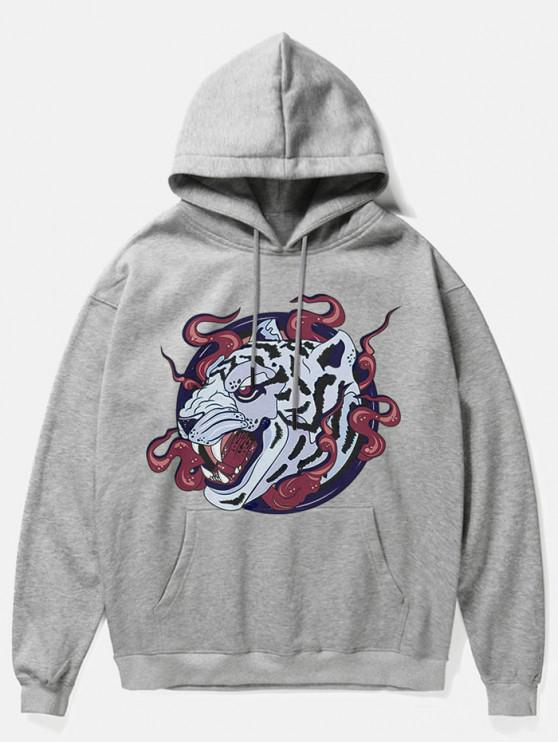Fleece-Hoodie mit Leoparden-Kopf-Print - Grau M