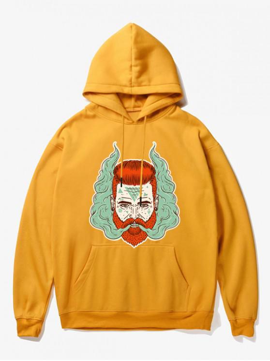 online Man Head With Smoke Print Fleece Hoodie - YELLOW S