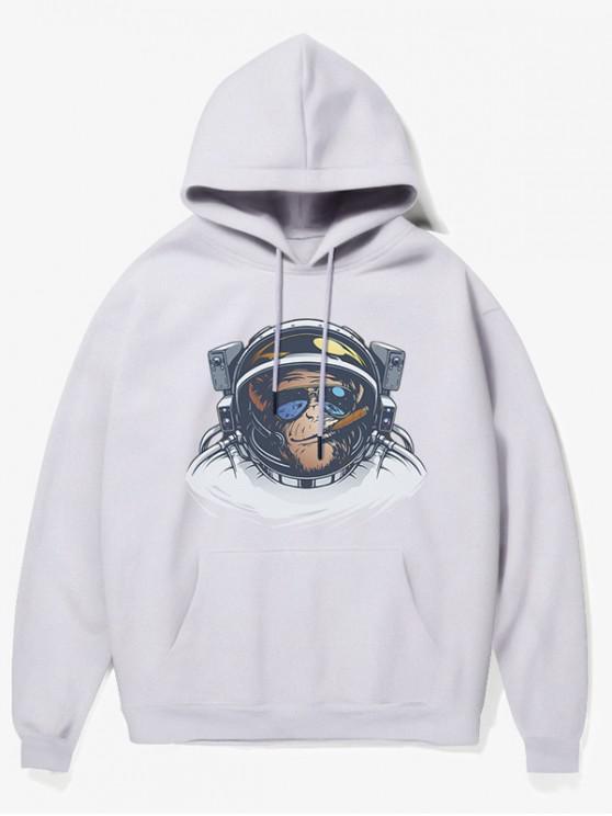 shops Cartoon Monkey Astronaut Print Fleece Hoodie - WHITE S
