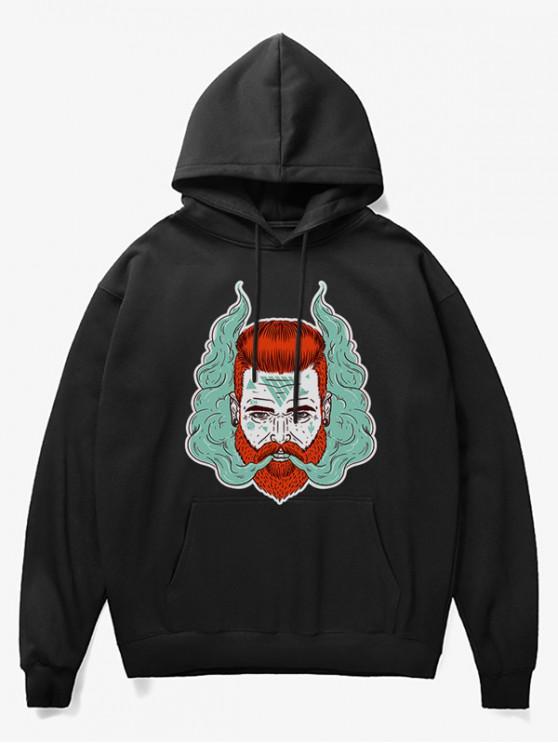sale Man Head With Smoke Print Fleece Hoodie - BLACK S