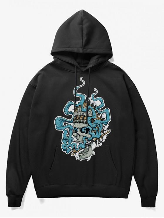 best Smoking Skull Print Fleece Hoodie - BLACK XS