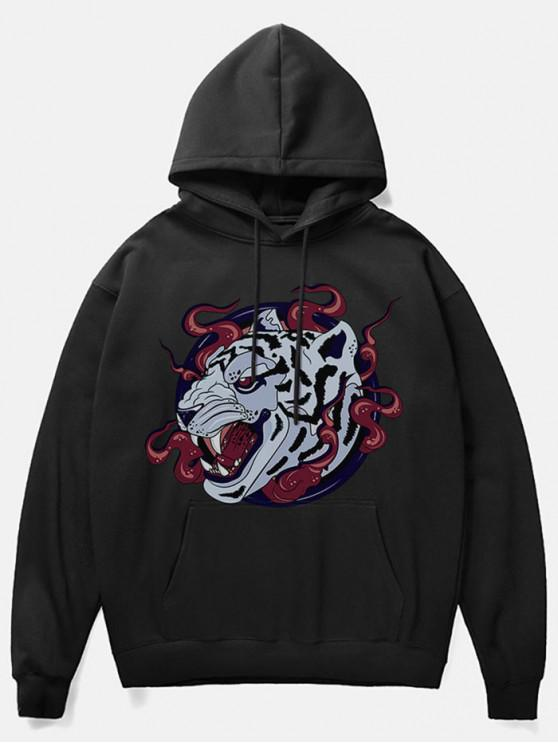 Fleece-Hoodie mit Leoparden-Kopf-Print - Schwarz M