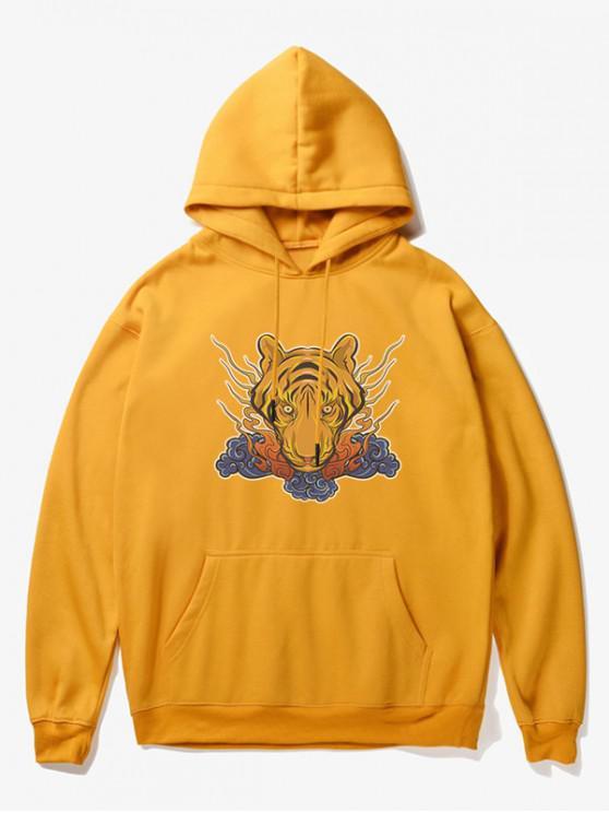 latest Tiger Head Print Fleece Hoodie - YELLOW M