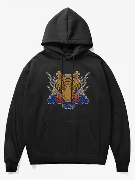 fancy Tiger Head Print Fleece Hoodie - BLACK XS