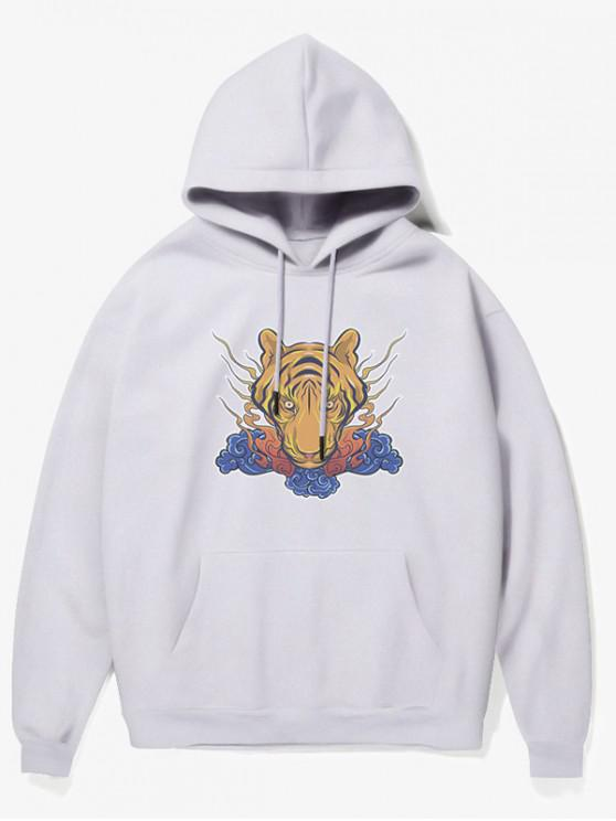 outfit Tiger Head Print Fleece Hoodie - WHITE S