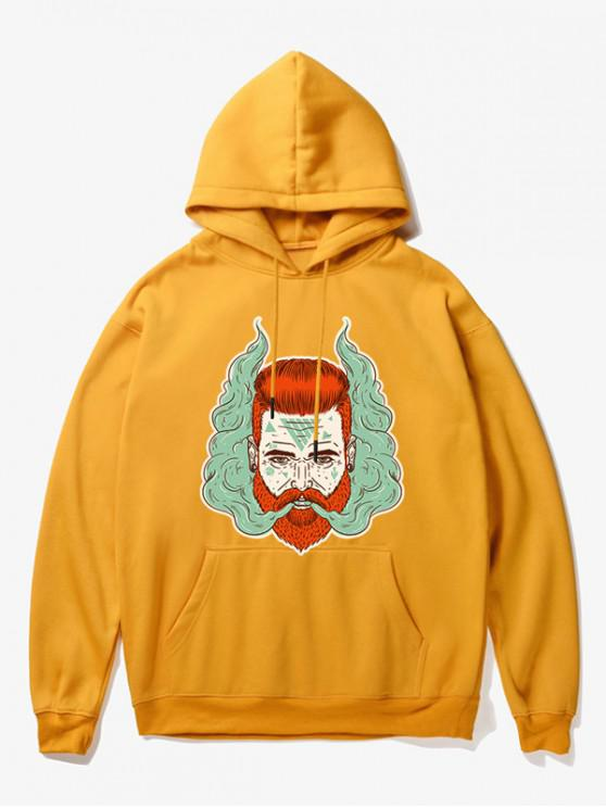 outfits Man Head With Smoke Print Fleece Hoodie - YELLOW M