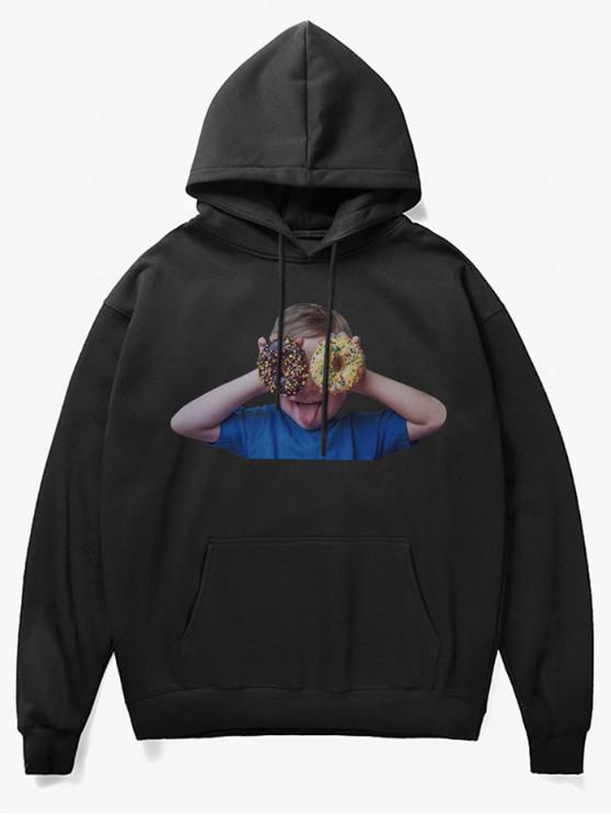 womens Donut Kid Print Fleece Hoodie - BLACK XS