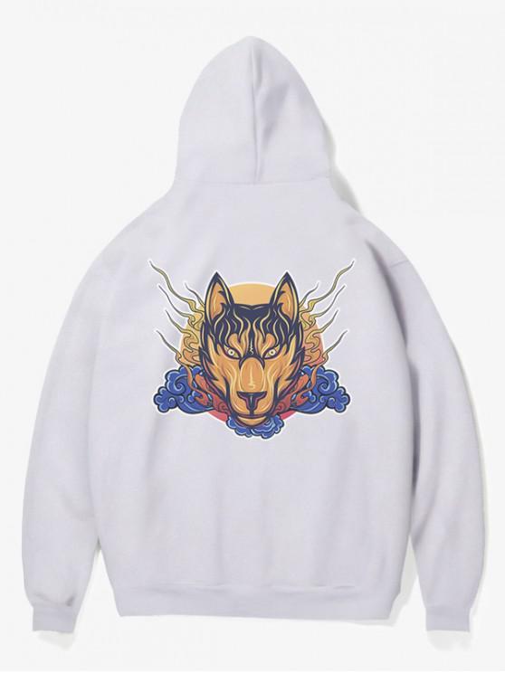 lady Wolf Head Print Fleece Hoodie - WHITE XS