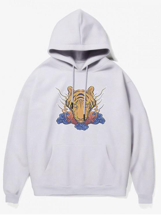 sale Tiger Head Print Fleece Hoodie - WHITE M