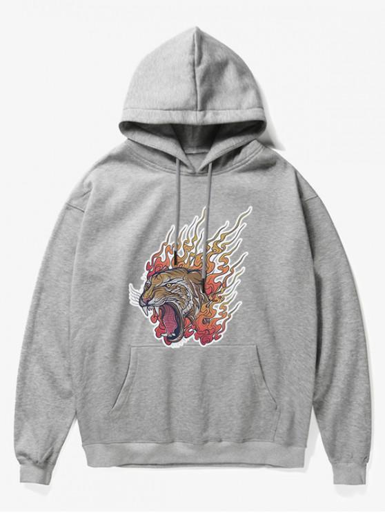 Sudadera con capucha Roar Tiger Head Fleece - Gris M