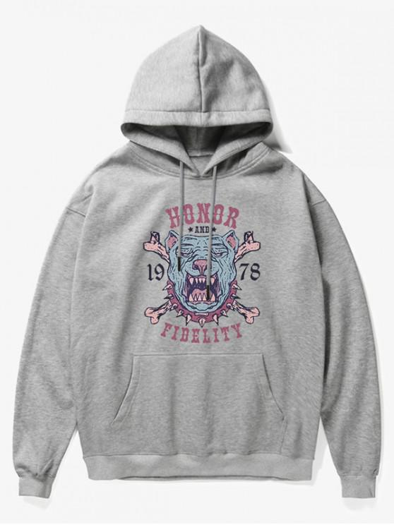 hot Cartoon Dog Bone Print Fleece Hoodie - GRAY S