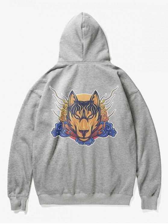 Sudadera con capucha de lana con estampado de cabeza de lobo - Gris S