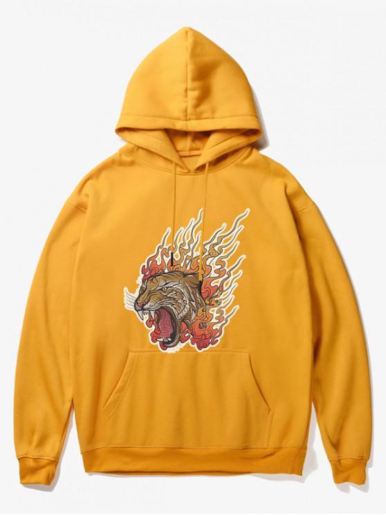 latest Roar Tiger Head Print Fleece Hoodie - YELLOW XS