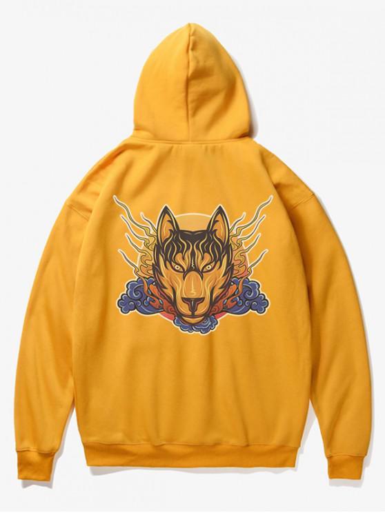 Sudadera con capucha de lana con estampado de cabeza de lobo - Amarillo XS