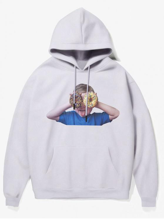 hot Donut Kid Print Fleece Hoodie - WHITE XS