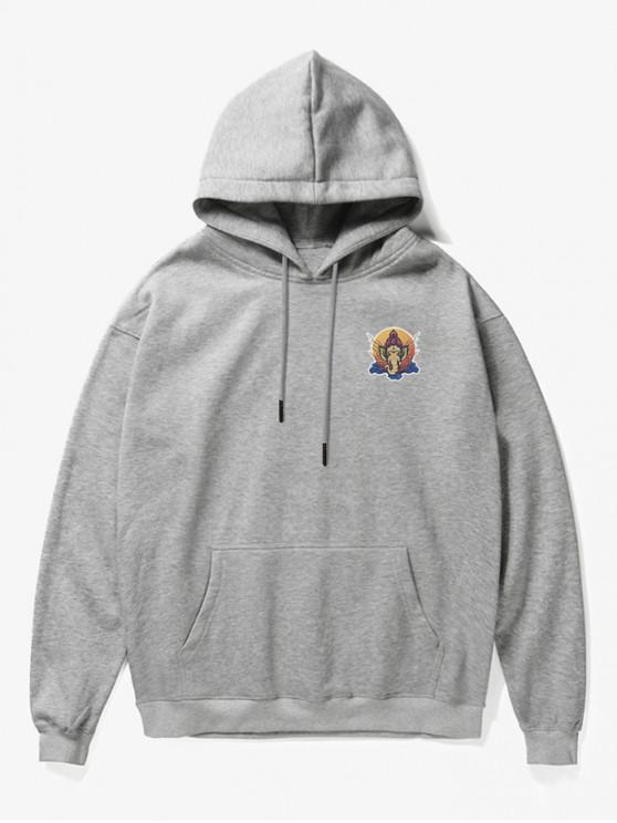 fashion Elephant Head Print Fleece Hoodie - GRAY S