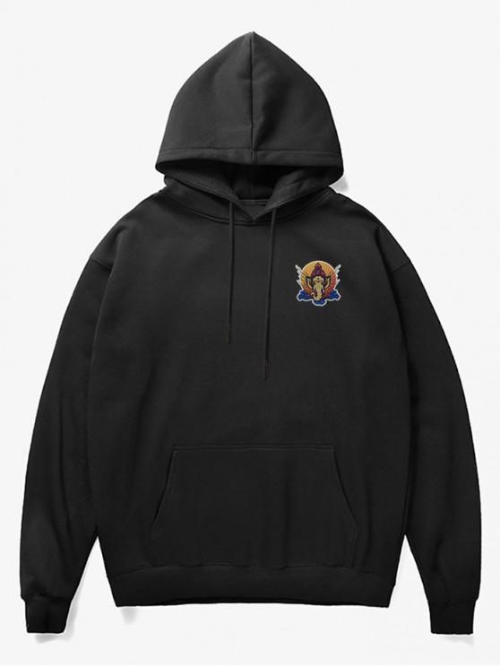 fancy Elephant Head Print Fleece Hoodie - BLACK S